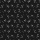 Seamless pattern with cartoon cute outline rabbit Royalty Free Stock Photography