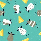 Seamless pattern with cartoon cute rats - Chinese symbol of the new year 2020. stock illustration