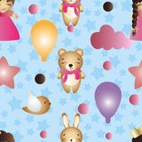 Pattern with cartoon cute toy baby girl and bunny Royalty Free Stock Photos