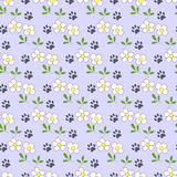 Seamless pattern with cartoon daisies and traces of cat paws. Stock Photography