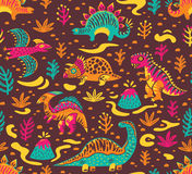 Seamless pattern with cartoon dinosaurs. Dinosaurs seamless pattern in cartoon style. Prehistoric period. Vector illustration. The background is made in brown Stock Photos
