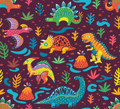 Seamless pattern with cartoon dinosaurs. Dinosaurs seamless pattern in cartoon style. Prehistoric period. Vector illustration. The background is made in dark Royalty Free Stock Photo