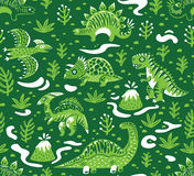 Seamless pattern with cartoon dinosaurs. Dinosaurs seamless pattern in cartoon style. Prehistoric period. Vector illustration. The background is made in green Royalty Free Stock Image