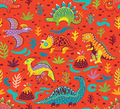 Seamless pattern with cartoon dinosaurs. Dinosaurs seamless pattern in cartoon style. Prehistoric period. Vector illustration. The background is made in red Stock Image