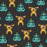 Seamless pattern with cartoon dog and christmas tree. Vector illustration. On a dark background vector illustration