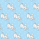 Seamless pattern with cartoon dogs on the blue background. Vector illustration Stock Photos