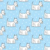 Seamless pattern with cartoon dogs on the blue background. Vector illustration Royalty Free Stock Photography