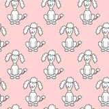 Seamless pattern with cartoon dogs on the pink background. Vector illustration Royalty Free Stock Photo