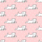 Seamless pattern with cartoon dogs on the pink background. Vector illustration Royalty Free Stock Images