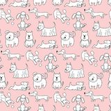 Seamless pattern with cartoon dogs on the pink background. Vector illustration Stock Image