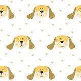 Seamless pattern with cartoon dogs on the white background. Vector illustration Stock Photo