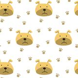 Seamless pattern with cartoon dogs on the white background. Vector illustration Royalty Free Stock Image