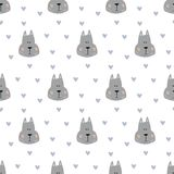 Seamless pattern with cartoon dogs on the white background. Vector illustration Royalty Free Stock Photos
