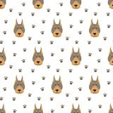 Seamless pattern with cartoon dogs on the white background. Vector illustration Royalty Free Stock Photography