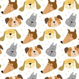 Seamless pattern with cartoon dogs on the white background. Vector illustration Stock Photography