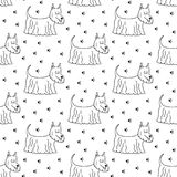 Seamless pattern with cartoon dogs on the white background. Vector illustration Stock Photos