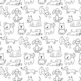 Seamless pattern with cartoon dogs on the white background. Vector illustration Royalty Free Stock Photo