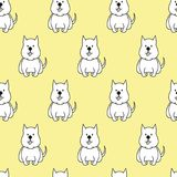 Seamless pattern with cartoon dogs on the yellow background. Vector illustration Stock Image