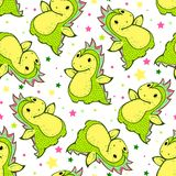 Seamless pattern with cartoon dragon. Royalty Free Stock Photo