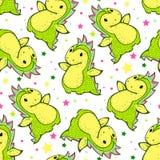 Seamless pattern with cartoon dragon. Hand-drawn illustration. Vector Royalty Free Stock Photo