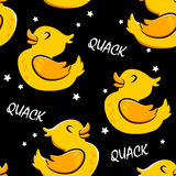 Seamless pattern with cartoon duck and stars. Ornament for textiles and wrapping. Vector background.  Royalty Free Stock Images