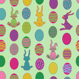 Seamless pattern with cartoon easter rabbit and eg Royalty Free Stock Photo