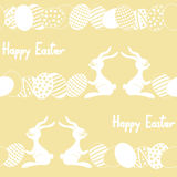 Seamless pattern with cartoon easter rabbit and eg Royalty Free Stock Image