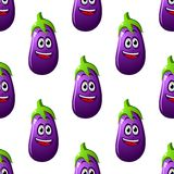 Seamless pattern of cartoon eggplants Royalty Free Stock Images