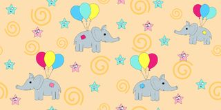 Seamless pattern with cartoon elephants flying on balloons. Vector illustration of a cartoon elephant. stock illustration
