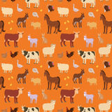 Seamless pattern with cartoon farm animals. Royalty Free Stock Image