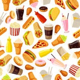 Seamless pattern with cartoon fast food. Vector illustration, eps10. Stock Photos
