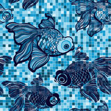 Seamless pattern with cartoon fish on the mosaic background. Royalty Free Stock Photo