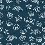 Seamless pattern with cartoon fish, seashells, starfish. Vector sea background for kids. Child drawing style underwater illustration. Black and white wallpaper Royalty Free Stock Photo