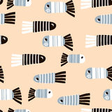 Seamless pattern with cartoon fishes. Childish texture for fabric, textile. Vector background Stock Image