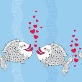 Seamless pattern with cartoon fishes couple in love and red bubbles like heart on the blue background with stripes. Stock Photos