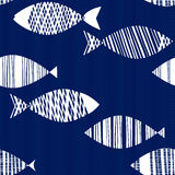 Seamless pattern with cartoon fishes. Hand drawn  illustra Stock Photo