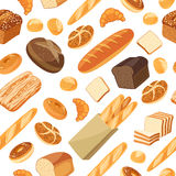 Seamless pattern with cartoon food: bread Stock Photo