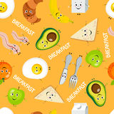 Seamless pattern of cartoon food: breakfast Royalty Free Stock Images