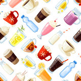 Seamless pattern with cartoon food: non-alcoholic beverages Royalty Free Stock Photo