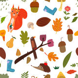 Seamless pattern with cartoon Forest Animals and autumn elements Stock Photos