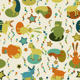 Seamless pattern with cartoon forest animals Stock Photo