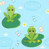 Seamless pattern with cartoon frog Royalty Free Stock Images