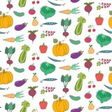 Seamless pattern with cartoon fruits and vegetables stock illustration