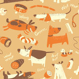 Seamless pattern with cartoon funny dogs Stock Images
