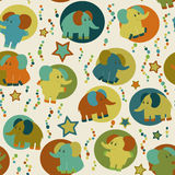 Seamless pattern with cartoon funny elephants Royalty Free Stock Photography