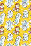 Seamless pattern with cartoon funny samoyed dogs on yellow background. Cute cartoon puppies vector background vector illustration