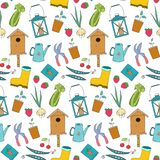 Seamless pattern with cartoon gardening items. Vector illustration royalty free illustration