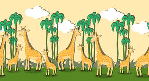 Seamless pattern with cartoon giraffes. In the grass Royalty Free Stock Image
