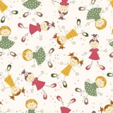 Seamless pattern with cartoon girls Stock Image
