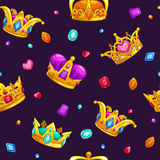 Seamless pattern with cartoon golden king crowns Royalty Free Stock Photography